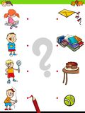 Match children characters and activities game. Cartoon Illustration of Educational Pictures Matching Game for Children with Kid Characters and their Activities Royalty Free Stock Photo