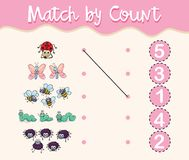 Match by count with different types of insects stock illustration