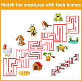 Match creatures with their homes Royalty Free Stock Images
