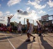 match de basket 3x3 Images libres de droits
