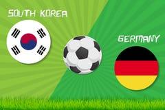 Match de football Corée du Sud contre l'Allemagne Fond de sport illustration stock