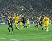 Match de football d'équipes nationales de l'Ukraine - de la Suède Image libre de droits