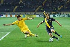 Match de football d'équipes nationales de l'Ukraine - de la Suède Photographie stock libre de droits