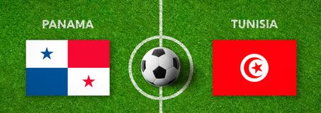 Match de football Panama contre tunisia Images libres de droits