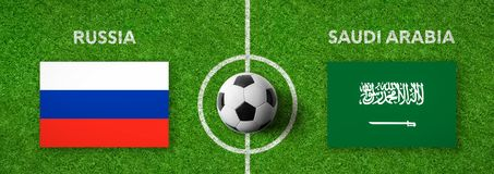 Match de football Russie contre l'Arabie Saoudite Image stock