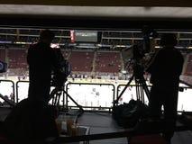 Match de hockey de NHL - gala d'appareils-photo d'émission Images stock