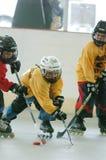 Match de hockey de rouleau de la jeunesse photographie stock libre de droits