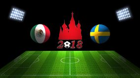 Match 2018 de tasse du football du monde en Russie : Le Mexique contre La Suède, dans 3D illustration libre de droits