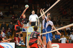 Match de volley de Kaposvar - de Kazincbarcika image libre de droits