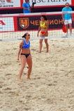 Match 2015 de volleyball de plage de tournoi de claquement de glande de Moscou pour le 3ème endroit L'Italie-Chine Image libre de droits