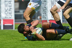 Match Espagne de cuvette de demi-finale contre l'Allemagne dans le rugby 7 séries de Grand prix à Moscou Images libres de droits