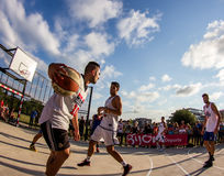 match för basket 3x3 Arkivbild