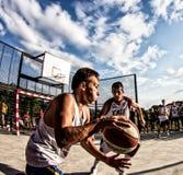 match för basket 3x3 Arkivfoto