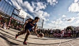 match för basket 3x3 Arkivfoton