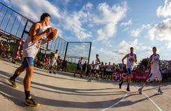 match för basket 3x3 Arkivbilder