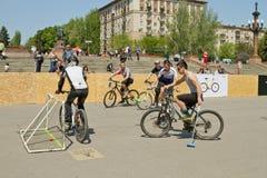 Match för demonstrationscykelpolo på händelsen arkivfoto