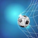 Match för fotbolllek Målögonblick bollen förtjänar MALLILLUSTRATION PÅ BLÅ BAKGRUND vektor illustrationer