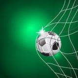 Match för fotbolllek Målögonblick bollen förtjänar MALLILLUSTRATION PÅ GRÖN BAKGRUND Fotografering för Bildbyråer