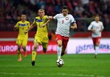 Match för världscupRusia 2018 kvalifikation Polen - Kasakhstan arkivfoto