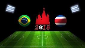 Match 2018 för världsfotbollkopp i Ryssland: Brasilien vs Costa Rica I stock illustrationer