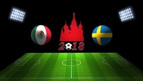 Match 2018 för världsfotbollkopp i Ryssland: Mexico vs Sverige i 3D royaltyfri illustrationer