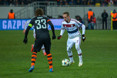 Match between FC Shakhtar vs FC Bayern. Champions League Royalty Free Stock Images