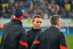 Match between FC Shakhtar vs FC Bayern. Champions League Royalty Free Stock Photos