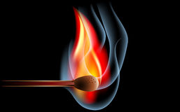 Match on fire. Isolated on black Stock Photography