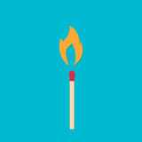 Match with fire. Burning match on blue background. Vector, illustration, flat eps10 Royalty Free Stock Photography