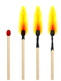 Match on fire. On a white background Stock Images