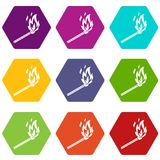 Match flame icon set color hexahedron. Match flame icon set many color hexahedron isolated on white vector illustration Royalty Free Stock Photos