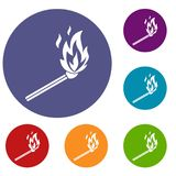 Match flame icons set. In flat circle reb, blue and green color for web Stock Photos