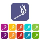 Match flame icons set. Vector illustration in flat style in colors red, blue, green, and other Royalty Free Stock Image