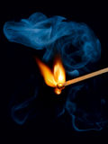 Match flame and smoke Royalty Free Stock Image