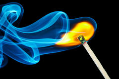 Match flame and smoke Royalty Free Stock Photo