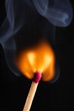 Match flame and smoke Royalty Free Stock Photography
