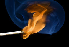 Match flame and smoke stock images