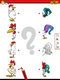 Match halves of roosters educational game