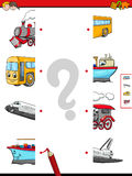 Match the halves of vehicle characters. Cartoon Illustration of Educational Game of Matching Halves with Transportation Characters Royalty Free Stock Photography