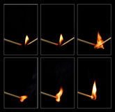 Match ignition. A series of shots showing an unlit match being ignited by a lit match Royalty Free Stock Photography