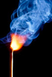 Match. Ignition of match with smoke Stock Images