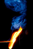 Match. Ignition of match with smoke Royalty Free Stock Photos