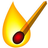 Match. Illustration of the burning match icon Stock Images