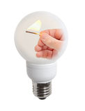 match in a light bulb Stock Photography
