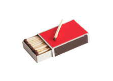 Match On Matchbox. One match lying on open red matchbox. Isolated on white with clipping path stock photography