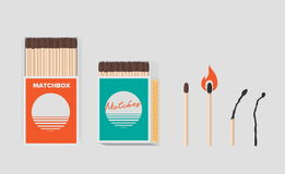 Match and matchbox set. Sticks in open cardboard packs. Matchstick with sulfur, burning and burned. Colorful flat vector. Illustration vector illustration