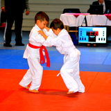 A match in a National Contest of Judo. Stock Photo