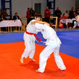 Match in a National Contest of Judo. Stock Photo
