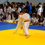 Match in a National Contest of Judo. Stock Photos