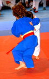 A match in a National Contest of Judo. National flag of Romania, blue, yellow, red Stock Photography